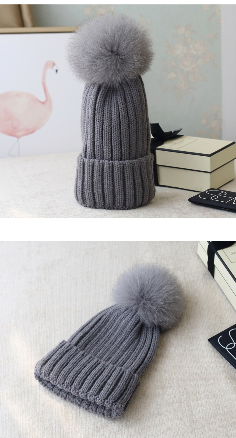 Wool Knitting Beanie Hat with Fox Fur Pompom 867 Details 2