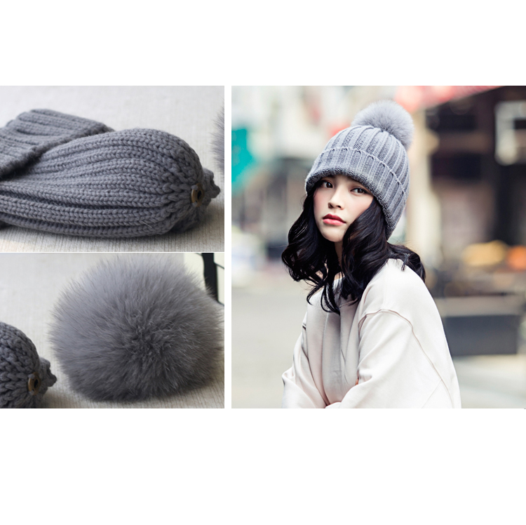 Wool Knitting Beanie Hat with Fox Fur Pompom 867 Details 5