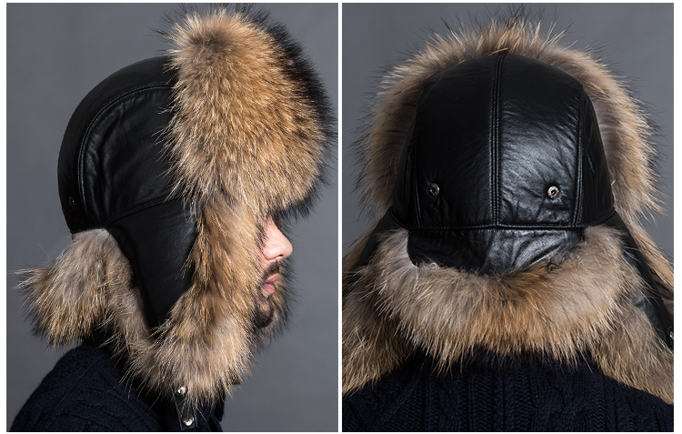 Men's Raccoon Fur Trapper Hat 868 Details 1