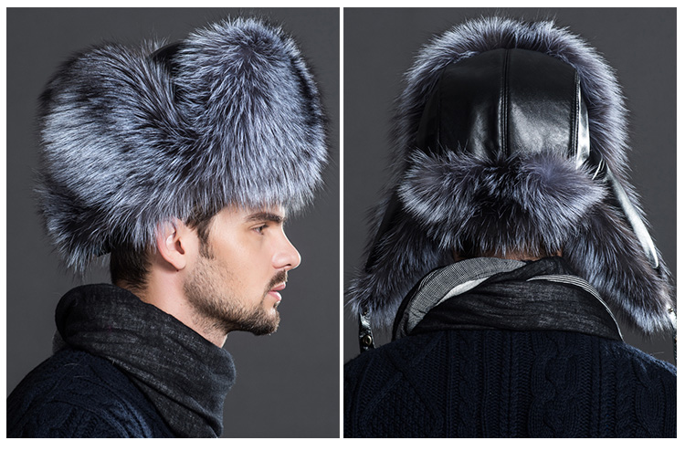 Men's Silver Fox Fur Trapper Hat 869 Details 1