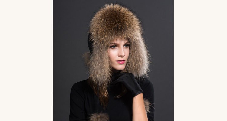 Raccoon Fur Trapper Hat 855 Details 1