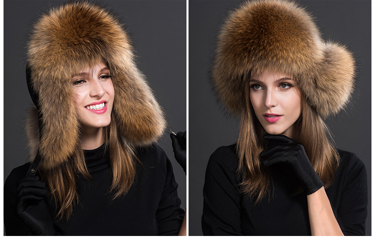 Raccoon Fur Trapper Hat 855 Details 2