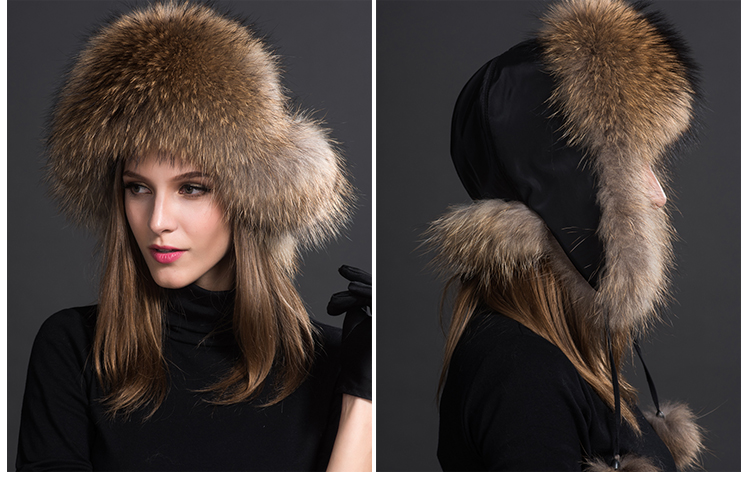 Raccoon Fur Trapper Hat 855 Details 3