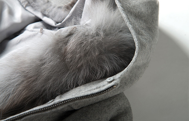 Fox Fur Hooded Vest with Wool Knitting Jacket 710 Details 4