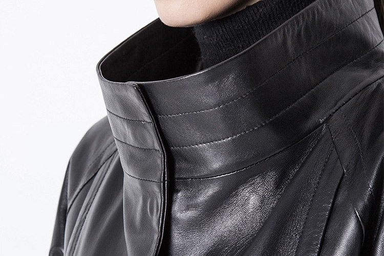 Belt Sheep Leather Cropped Jacket 701 Details 3
