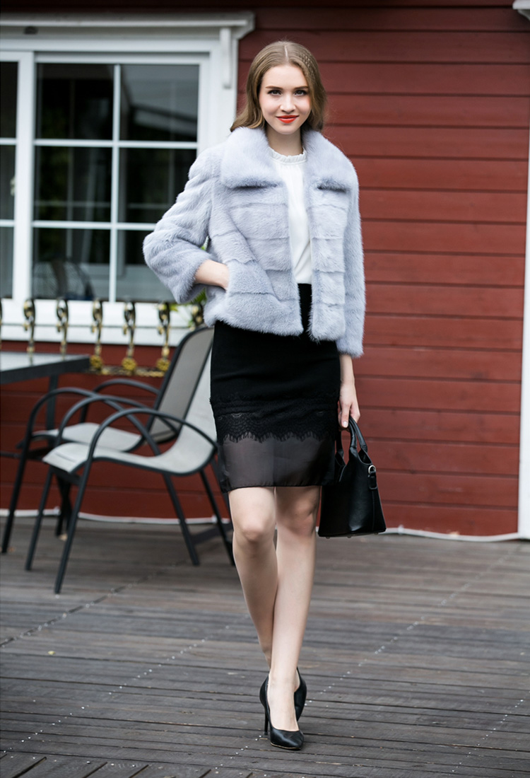 Cropped Mink Fur Jacket 734 Blue Details 1