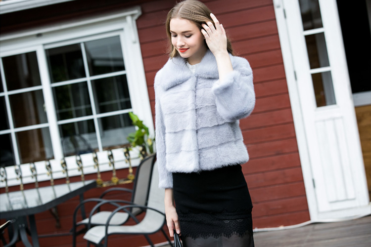 Cropped Mink Fur Jacket 734 Blue Details 4