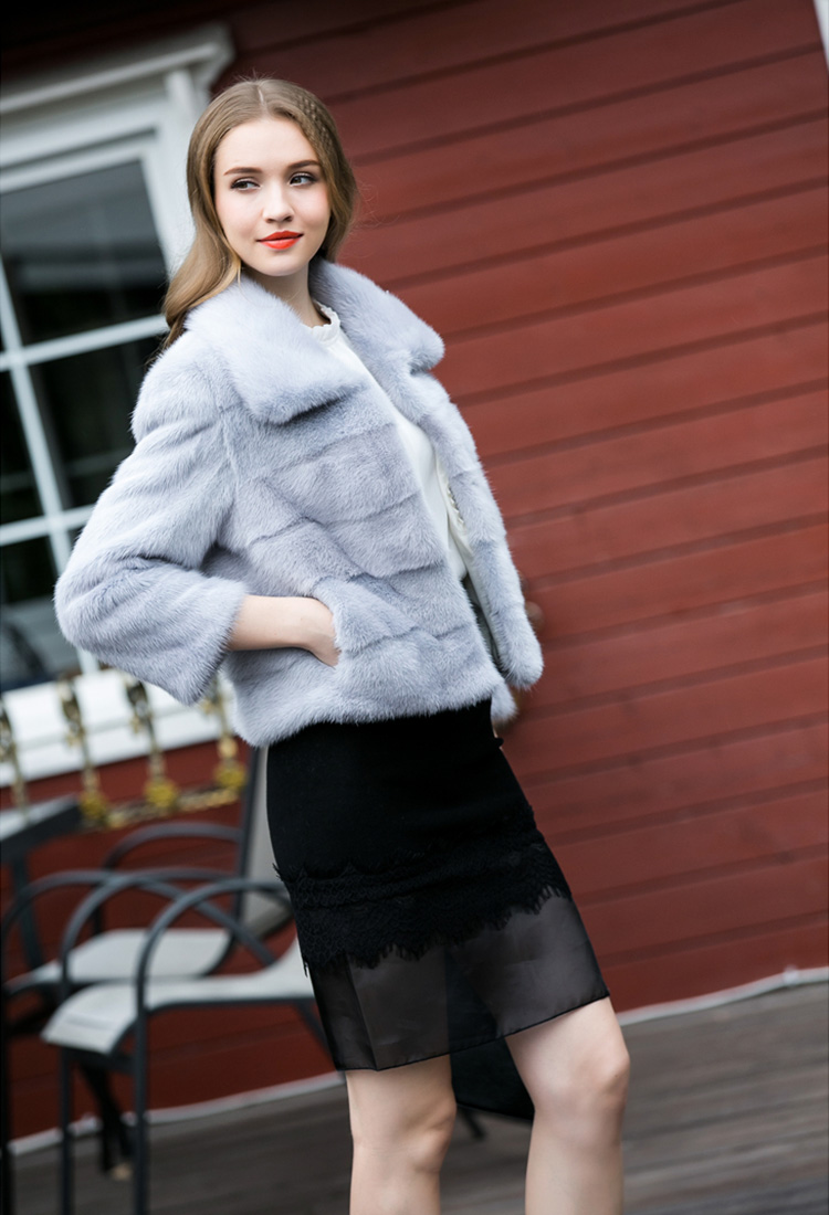 Cropped Mink Fur Jacket 734 Blue Details 6