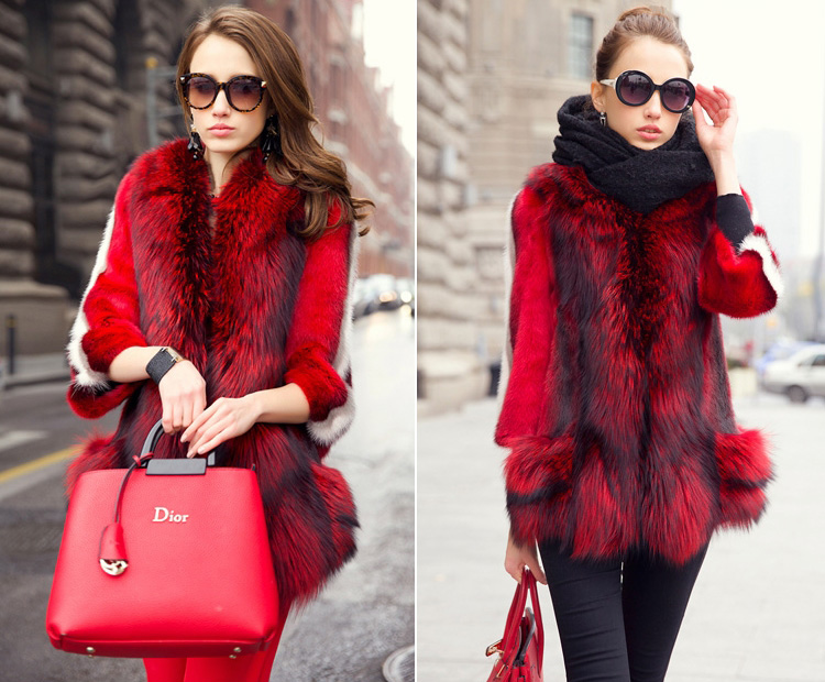 Mink Fur Coat With Fox Fur Trim 747 Details 3