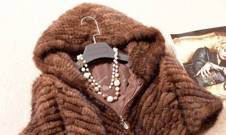Knitted Mink Fur Jacket With Hood 749 Details 1