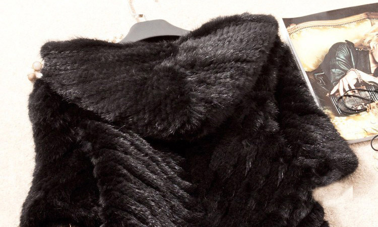 Knitted Mink Fur Jacket With Hood 749 Details 3