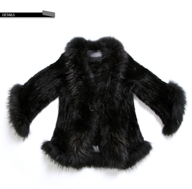 Mink Fur Knitted Jacket with Raccoon Fur Trim SKU: ffjamik35 Details1