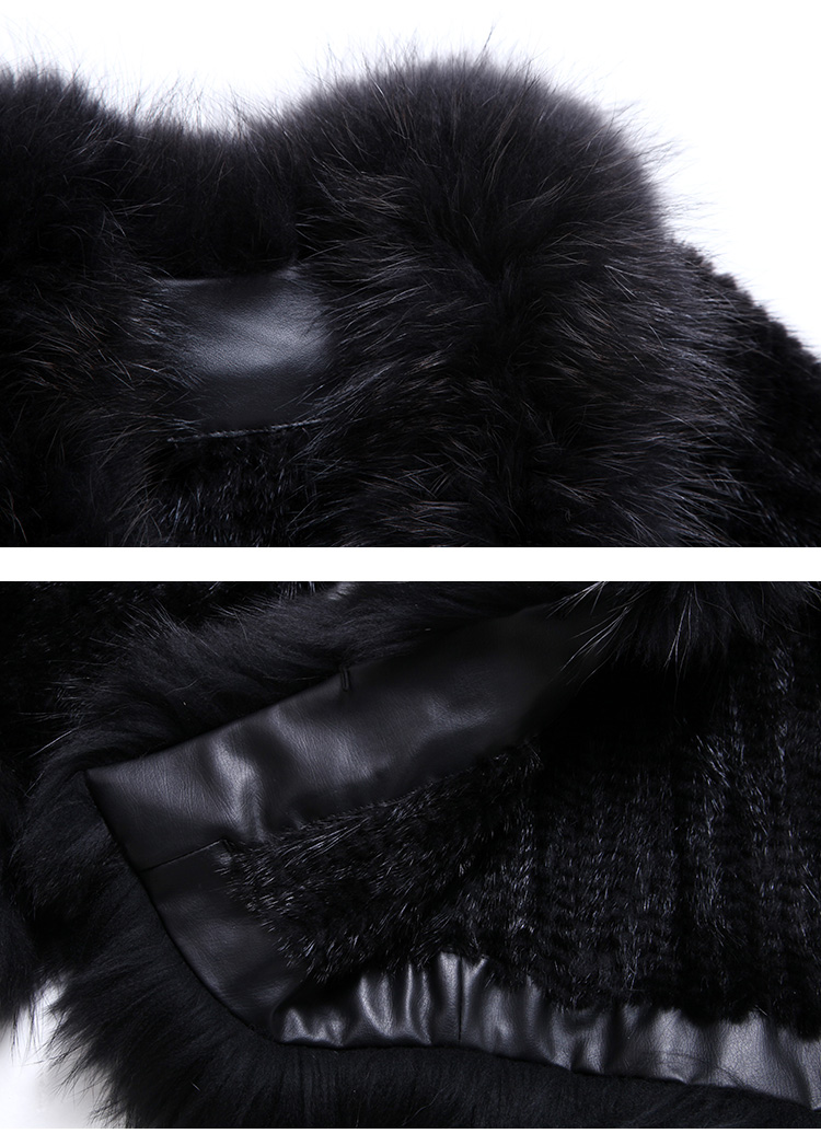 Mink Fur Knitted Jacket with Raccoon Fur Trim SKU: ffjamik35 Details2