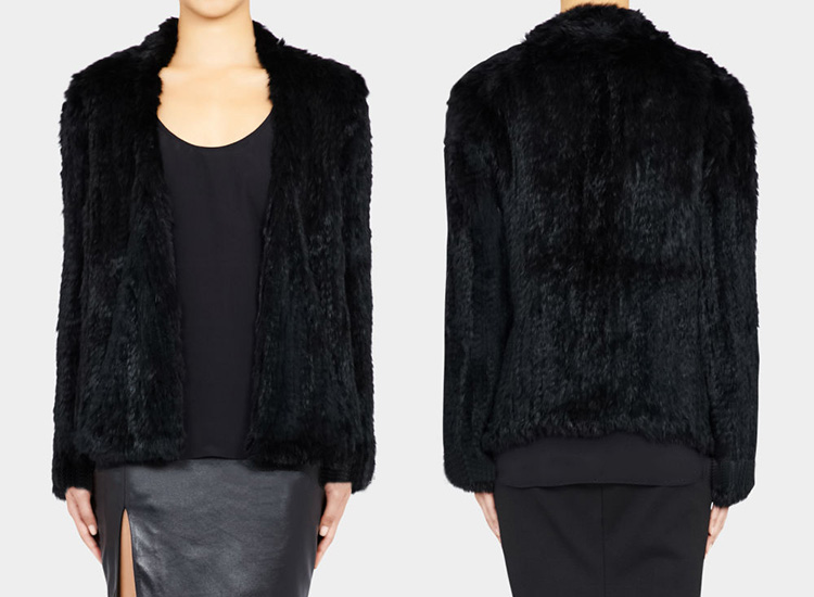 Collarless Knitted Rabbit Fur Coat 717 Black Detail