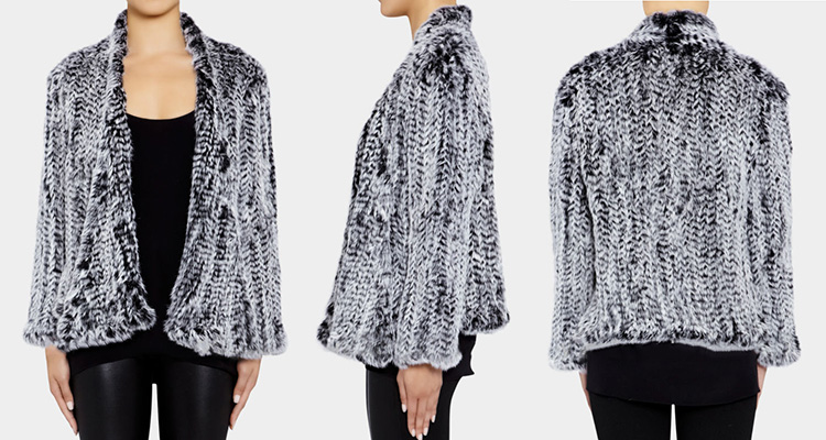 Collarless Knitted Rabbit Fur Coat 717 Frost Detail