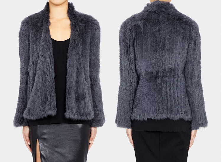 Collarless Knitted Rabbit Fur Coat 717 Gray Detail