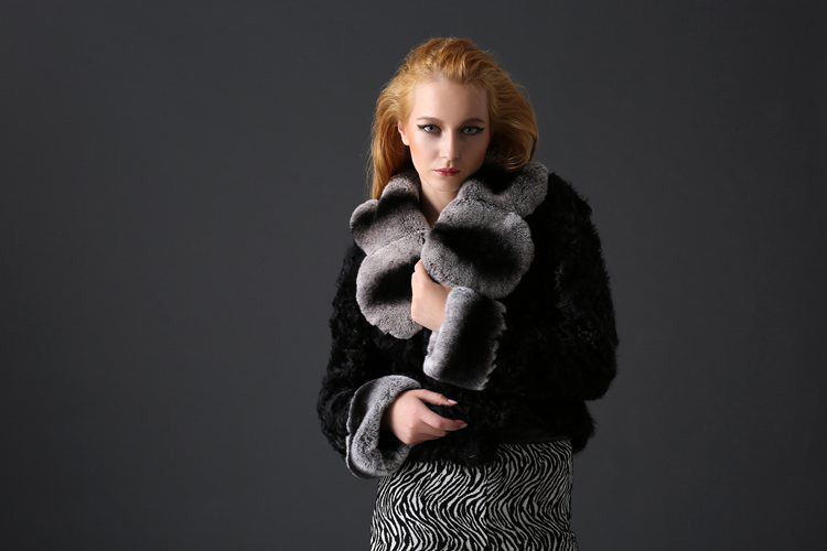 Sheep Fur Cropped Jacket with Rex Rabbit Fur Trim 782 Details 1