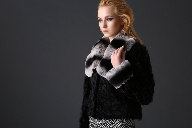 Sheep Fur Cropped Jacket with Rex Rabbit Fur Trim 782 Details 2