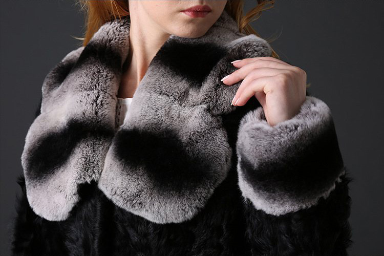 Sheep Fur Cropped Jacket with Rex Rabbit Fur Trim 782 Details 3