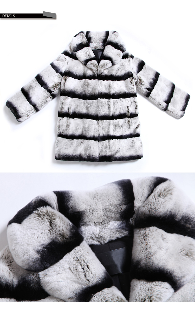 Rex Rabbit Fur Coat with Chinchilla Look SKU-jarr18 Details a