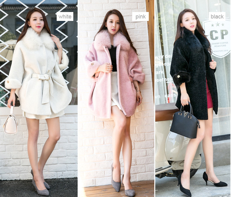 Shearling Lambwool Coat with Fox Fur Collar 735 Details 1