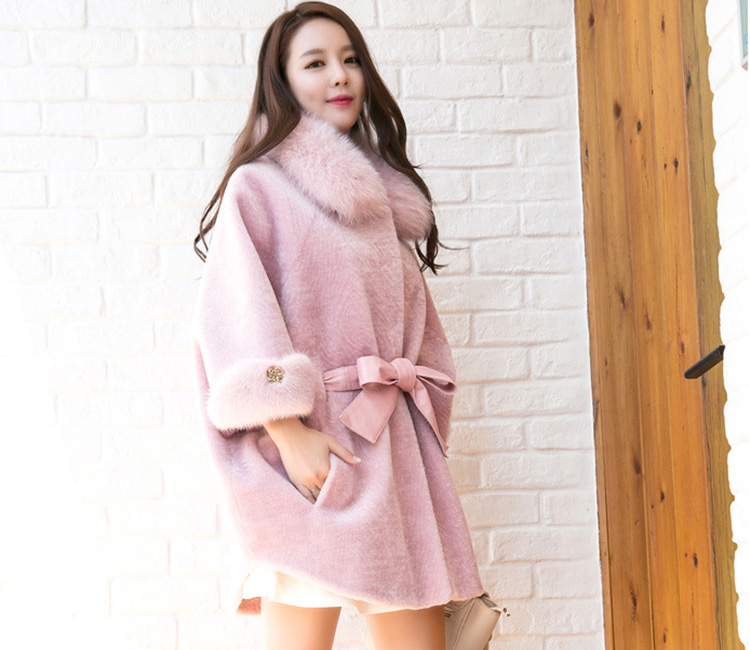 Shearling Lambwool Coat with Fox Fur Collar 735 Pink Details 1