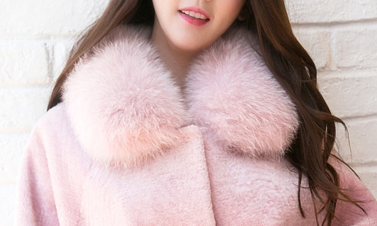 Shearling Lambwool Coat with Fox Fur Collar 735 Pink Details 3