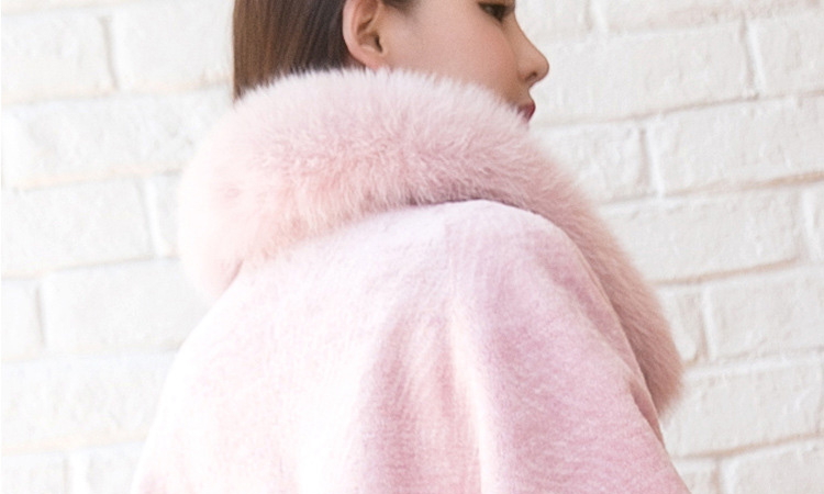 Shearling Lambwool Coat with Fox Fur Collar 735 Pink Details 4