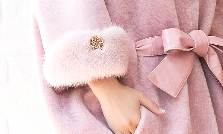 Shearling Lambwool Coat with Fox Fur Collar 735 Pink Details 6