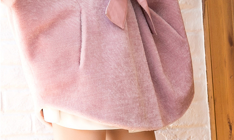 Shearling Lambwool Coat with Fox Fur Collar 735 Pink Details 7