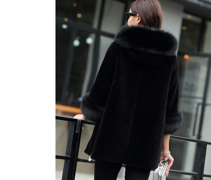 Hooded Shearling Lambpskin Jacket with Fox Fur Trim 768 Details 3