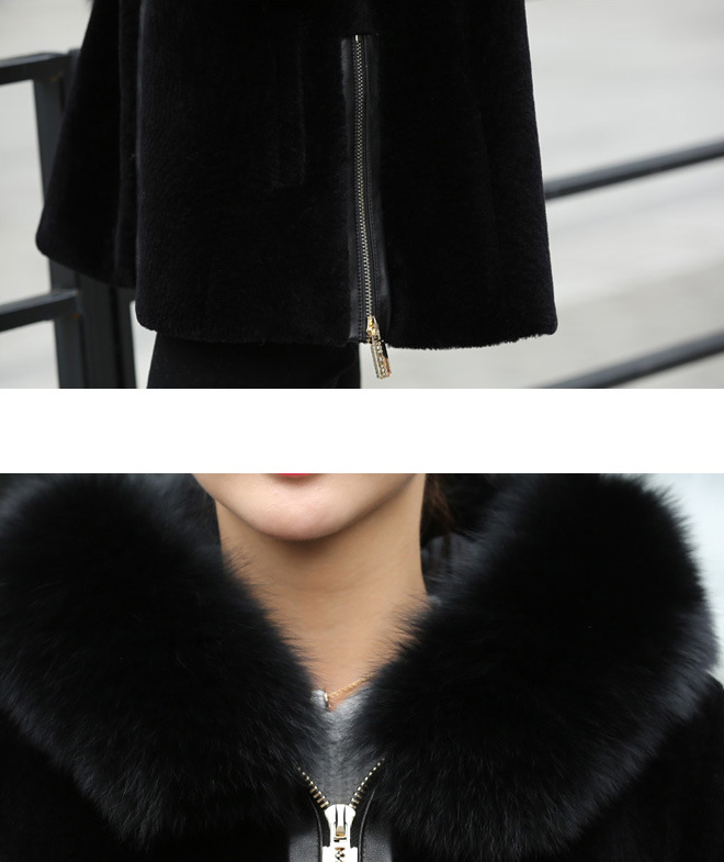 Hooded Shearling Lambpskin Jacket with Fox Fur Trim 768 Details 6