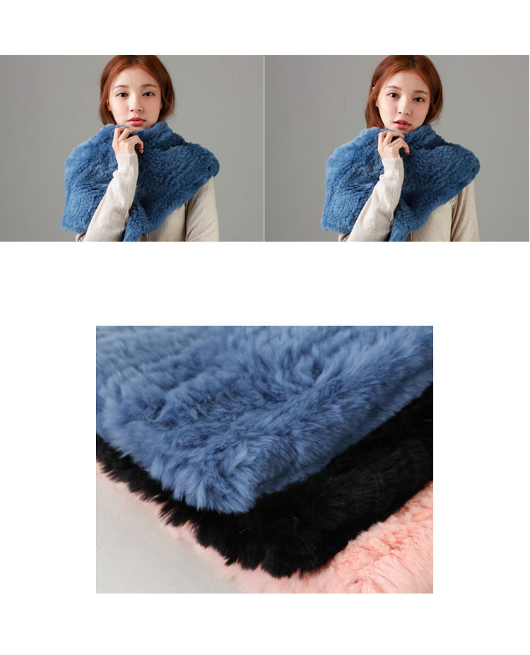 Knitted Rex Rabbit Fur Neck Warmer Capelet 848 Details 1