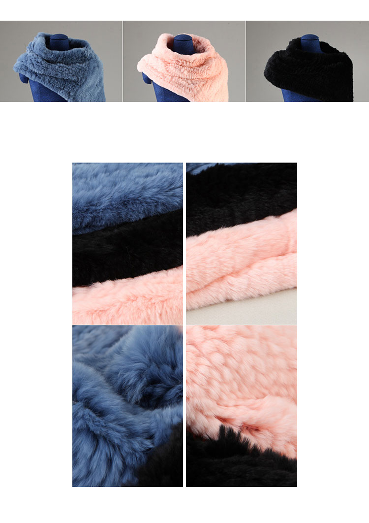 Knitted Rex Rabbit Fur Neck Warmer Capelet 848 Details 2