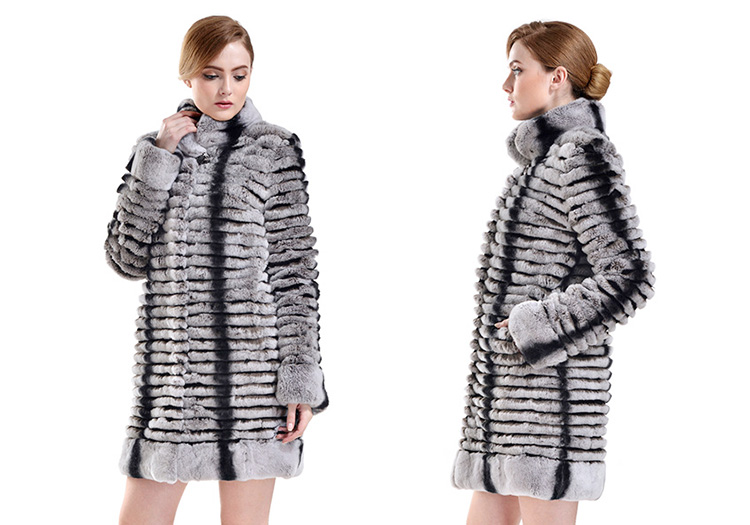Rex Rabbit Fur Coat with Chinchilla Fur Look 728 Details 1