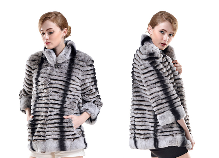 Rex Rabbit Fur Cropped Jacket with Chinchilla Fur Look 729 Details 1
