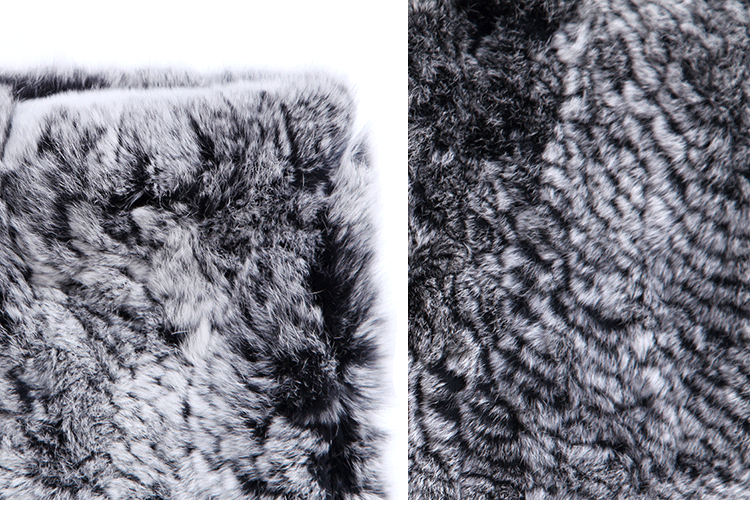 Knitted Rex Rabbit Fur Neck Warmer ffscarr09-Details_05