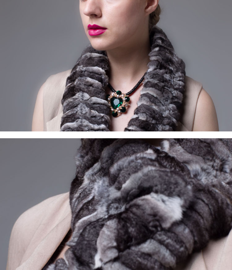 Chinchilla Fur Scarf, Collar 674 Deatails_1