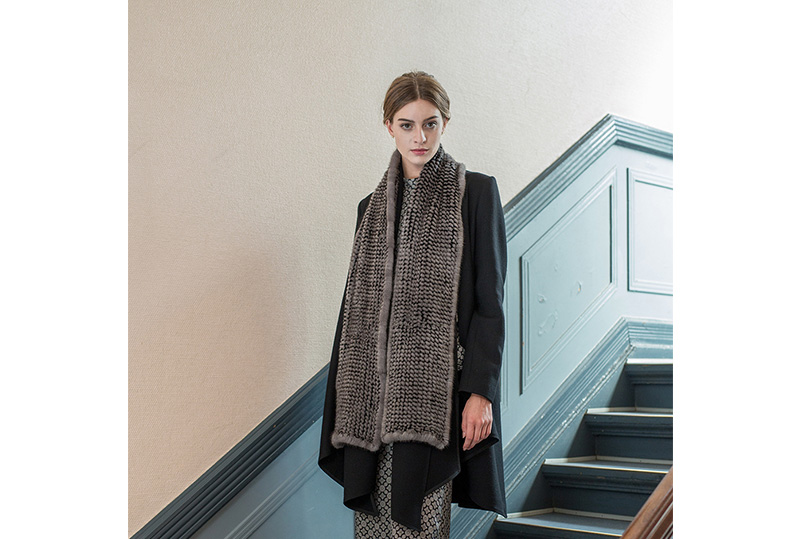 Mink Fur Knitted Scarf Shawl 683 details-2