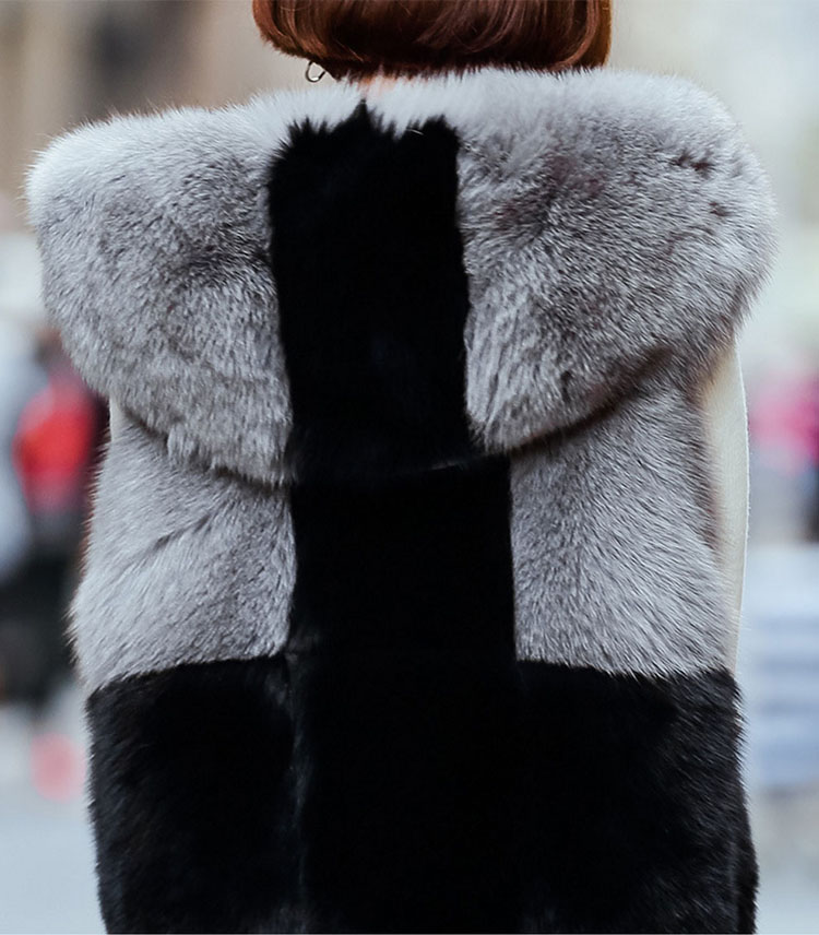 Two-tone Hooded Fox Fur Vest 692 Details 2
