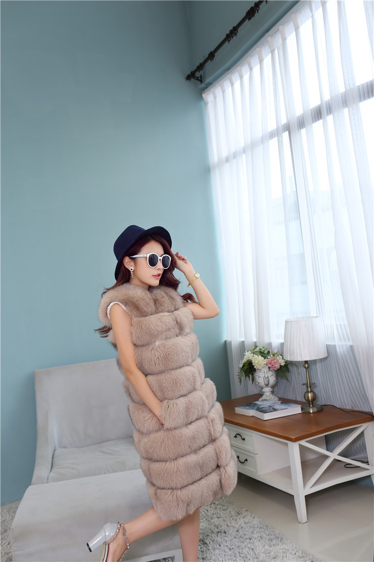 Fox Fur Long Vest 809 Details 2