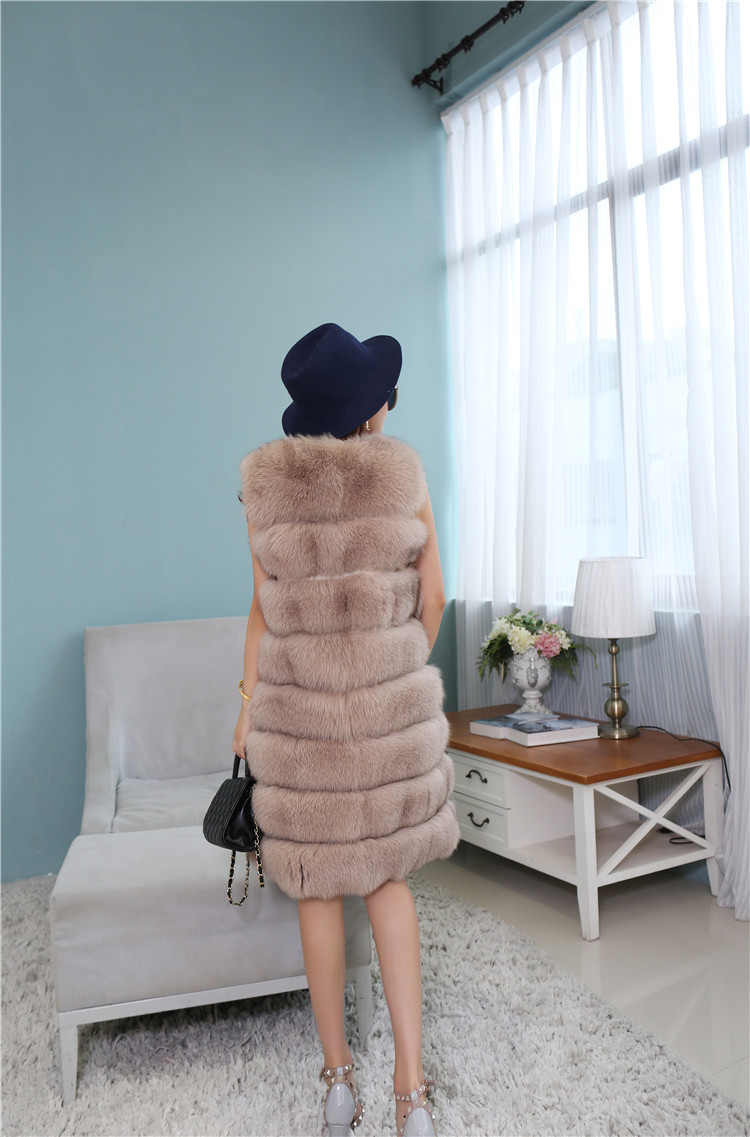 Fox Fur Long Vest 809 Details 3