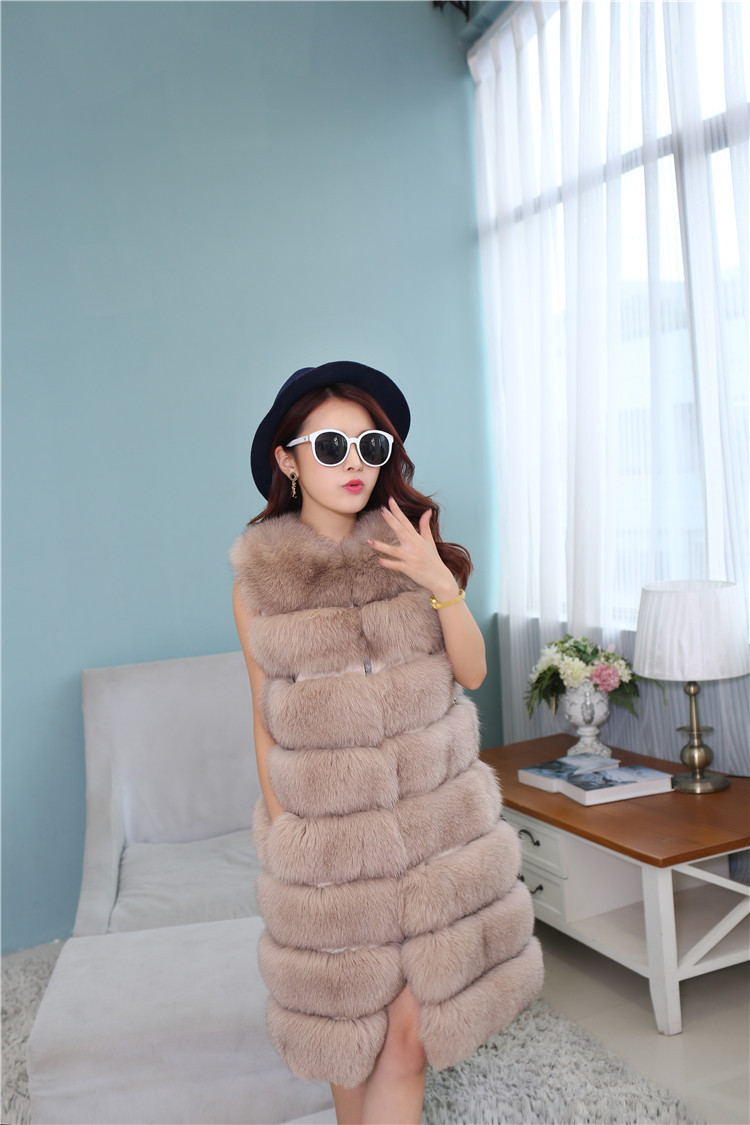Fox Fur Long Vest 809 Details 4