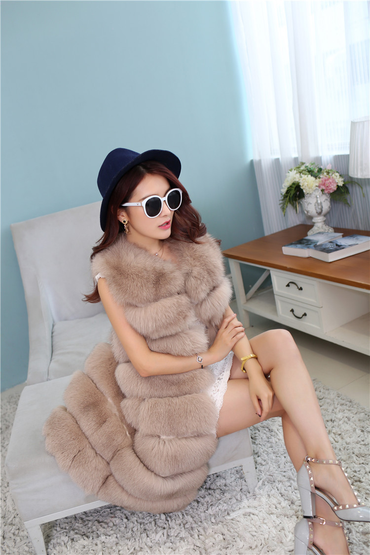 Fox Fur Long Vest 809 Details 5