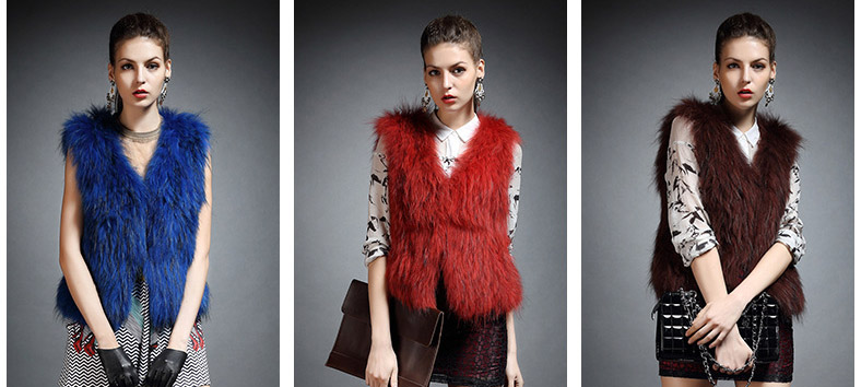 Knitted Raccoon Fur Vest 822 Details 2
