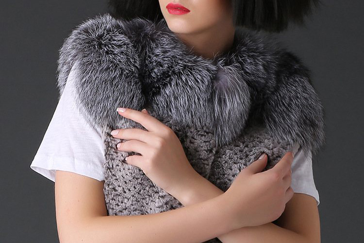 Rex Rabbit Fur Vest with Silver Fox Fur Collar 784 Details 1