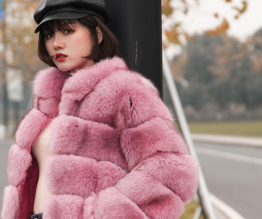 Fox Fur Jacket in Pink 986b