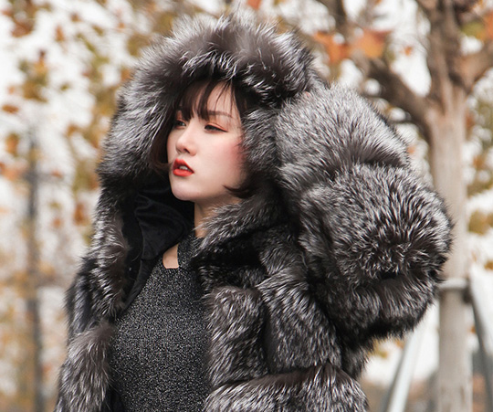 Silver Fox Fur Coat with Hood 254